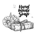 手工制造自然肥皂 导航有机化妆用品的手拉的例证与金盏草医疗花的 向量例证