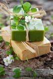 手工制造自然肥皂 库存照片