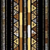 手工制造色的条纹明亮部族无缝 库存图片