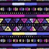手工制造色的条纹明亮部族无缝 免版税库存图片