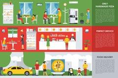 手工制造薄饼、完善的服务和仅食物交付平的概念网导航例证 比萨店餐馆 皇族释放例证