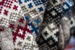 手工制造袜子羊毛 免版税库存照片