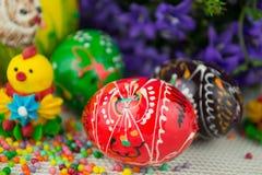 手工制造被绘的复活节彩蛋 免版税库存图片