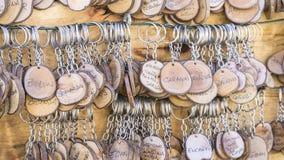 手工制造钥匙圈以people& x27变化; s名字,工艺品g 免版税库存图片
