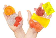 手工制造颜色肥皂在孩子棕榈的 免版税库存照片