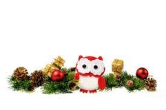 手工制造,圣诞节猫头鹰 免版税图库摄影