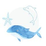手工制造绘画水彩蓝色海,纸纹理 库存例证