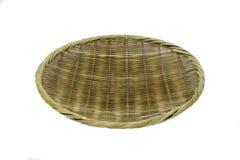 手工制造织法圆的篮子盘子 免版税库存照片