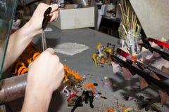 手工制造玻璃创造性的手工玻璃小雕象 免版税库存图片