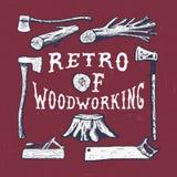 手工制造轴,飞机,树,树桩,引形钢锯 库存照片