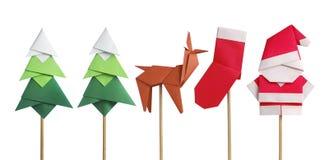 手工制造origami纸工艺在白色隔绝的圣诞老人 免版税库存图片