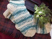 手工编织的米黄和绿色袜子 免版税图库摄影