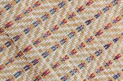 手工造织法纹理泰国薹席子背景 免版税库存图片
