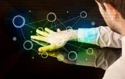 手感人的交互式桌 图库摄影