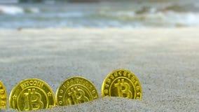 手手指在Bitcoins投入了入沙子作为篱芭在海滩宏指令 股票录像