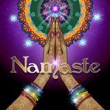 手扣紧了Namaste 库存例证
