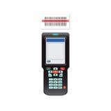 手扶的移动计算机在手中或扫描器条形码 免版税库存图片