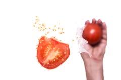 手投掷蕃茄 库存图片