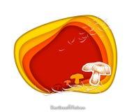 手拉与纸裁减艺术的秋天蘑菇 免版税图库摄影