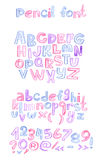 手拉与颜色书写abc信件序列 资本和小写字母、数字和标点符号 被策划的字母表 免版税库存照片