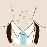 手拉人的面孔 英俊的人纵向年轻人 向量 库存照片