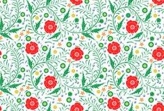 手拉传染媒介无缝的花卉样式的设计:庭院白色, 库存图片