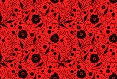 手拉传染媒介无缝的花卉样式的设计:黑鸦片 库存照片