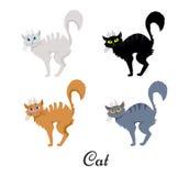 手拉传染媒介的套万圣夜动画片弄乱了猫 免版税图库摄影