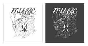 手拉刺激字法书刊上的图片,热忱对音乐和它的意思在我们的生活中 库存图片