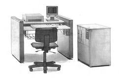 手拉办公室的工作场所 免版税库存图片