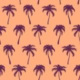 手拉单色橙色紫罗兰色热带的棕榈树 免版税库存照片