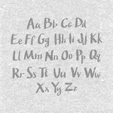 手拉和速写的字体,传染媒介剪影样式字母表 免版税图库摄影