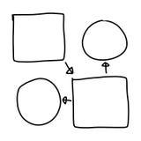 手拉图形符号几何形状图表对输入 免版税库存照片