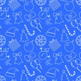 手拉圣诞节蓝色的背景 概述白色 平的设计,传染媒介例证 库存照片