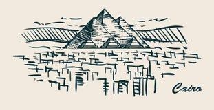 手拉开罗的地平线,埃及剪影传染媒介例证 向量例证