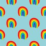 手拉彩虹无缝的样式的传染媒介 免版税库存照片