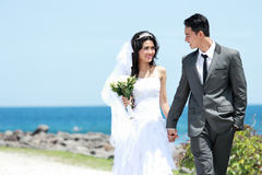 手拉手走在海滨的新郎和新娘 图库摄影