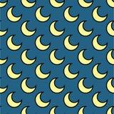 手拉月亮无缝的样式的传染媒介 库存图片