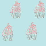 手拉杯形蛋糕甜点无缝的乱画传染媒介的样式 库存照片