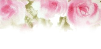 手拉桃红色玫瑰的水彩 保存日期卡片设计 Invi 图库摄影
