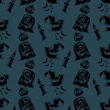 手拉的万圣夜剪影样式 免版税图库摄影
