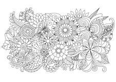 手拉的上色页和其他装饰的zentangle花卉背景 免版税库存照片