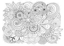 手拉的上色页的zentangle花卉背景 免版税库存图片