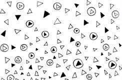 手拉的不规则的混乱抽象黑小点和三角在白色背景 库存例证