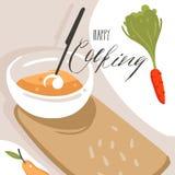 手拉的与准备食物场面,奶油色汤盘的传染媒介摘要现代动画片烹饪课例证海报 皇族释放例证