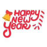 手拉的与响铃和糖果的字法新年好 库存例证