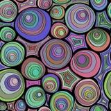 手拉的与圈子装饰品的乱画无缝的样式 疯狂的色板显示 荧光的同心圆 免版税库存图片