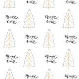 手拉的与徒手画的刷子被绘的圣诞树的传染媒介摘要圣诞装饰织地不很细无缝的样式设计 皇族释放例证