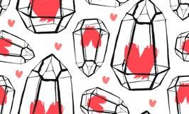 手拉的与粗砺的玻璃容器的传染媒介摘要无缝的样式和在白色bakground的红色心脏 设计为 库存例证