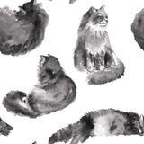 手拉的与葡萄酒灰色颜色毛皮猫的水彩无缝的样式在白色背景 免版税库存照片
